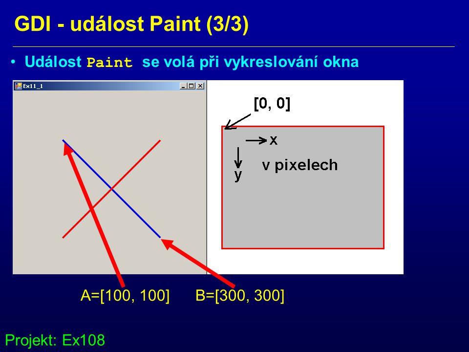 GDI - událost Paint (3/3) Událost Paint se volá při vykreslování okna A=[100, 100] B=[300, 300] Projekt: Ex108