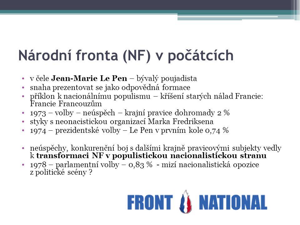Národní fronta (NF) v počátcích v čele Jean-Marie Le Pen – bývalý poujadista snaha prezentovat se jako odpovědná formace příklon k nacionálnímu populi
