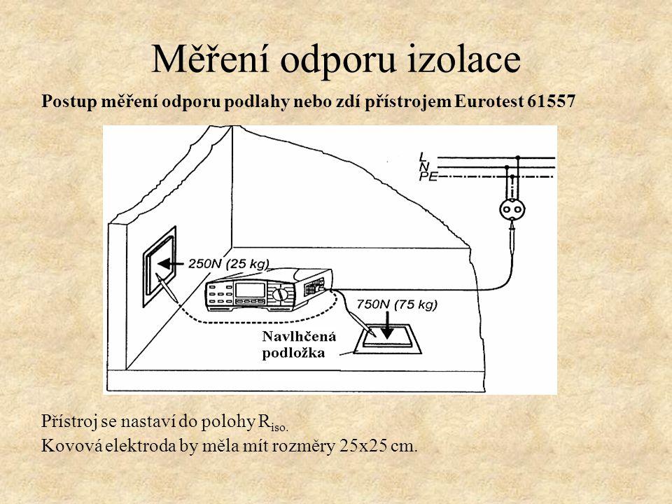 Postup měření odporu podlahy nebo zdí přístrojem Eurotest 61557 Přístroj se nastaví do polohy R iso. Kovová elektroda by měla mít rozměry 25x25 cm. Mě