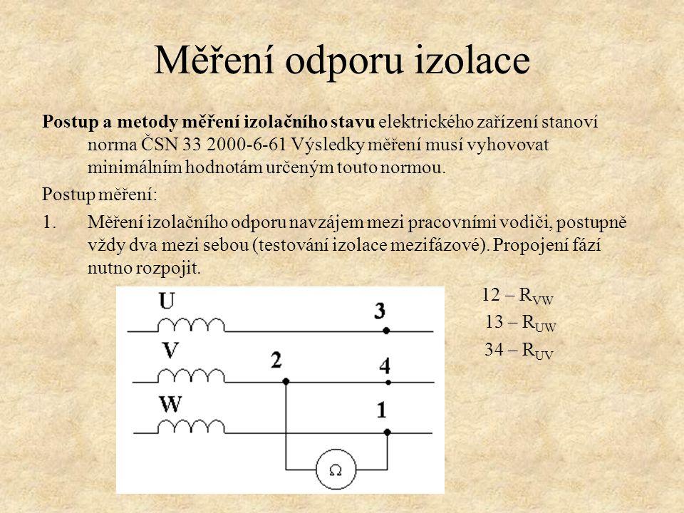 Postup a metody měření izolačního stavu elektrického zařízení stanoví norma ČSN 33 2000-6-61 Výsledky měření musí vyhovovat minimálním hodnotám určeným touto normou.