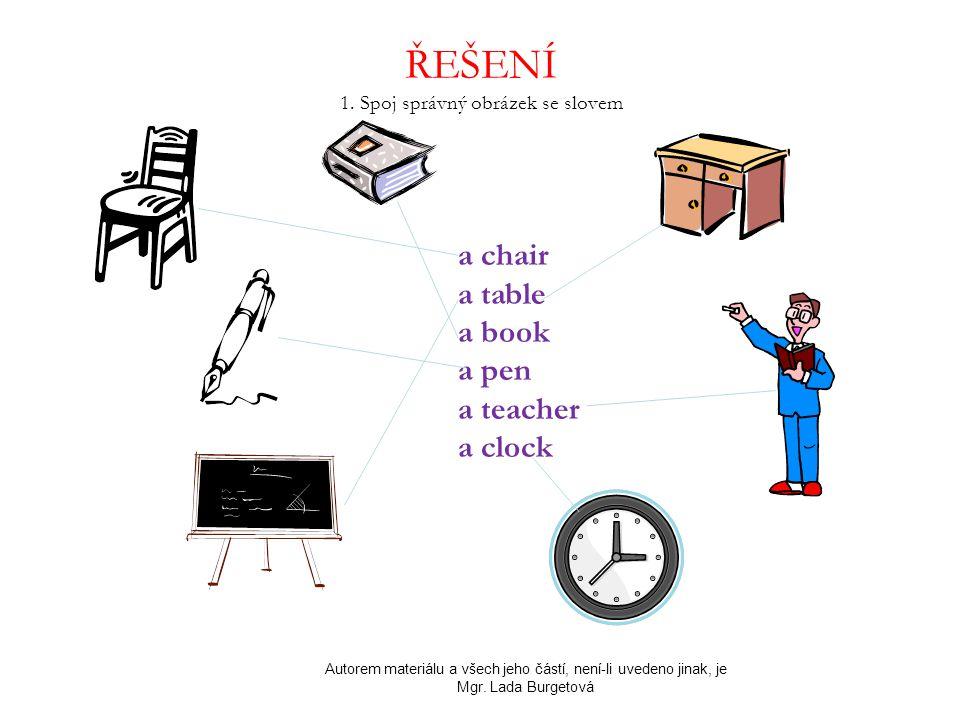 ŘEŠENÍ 1. Spoj správný obrázek se slovem Autorem materiálu a všech jeho částí, není-li uvedeno jinak, je Mgr. Lada Burgetová a chair a table a book a