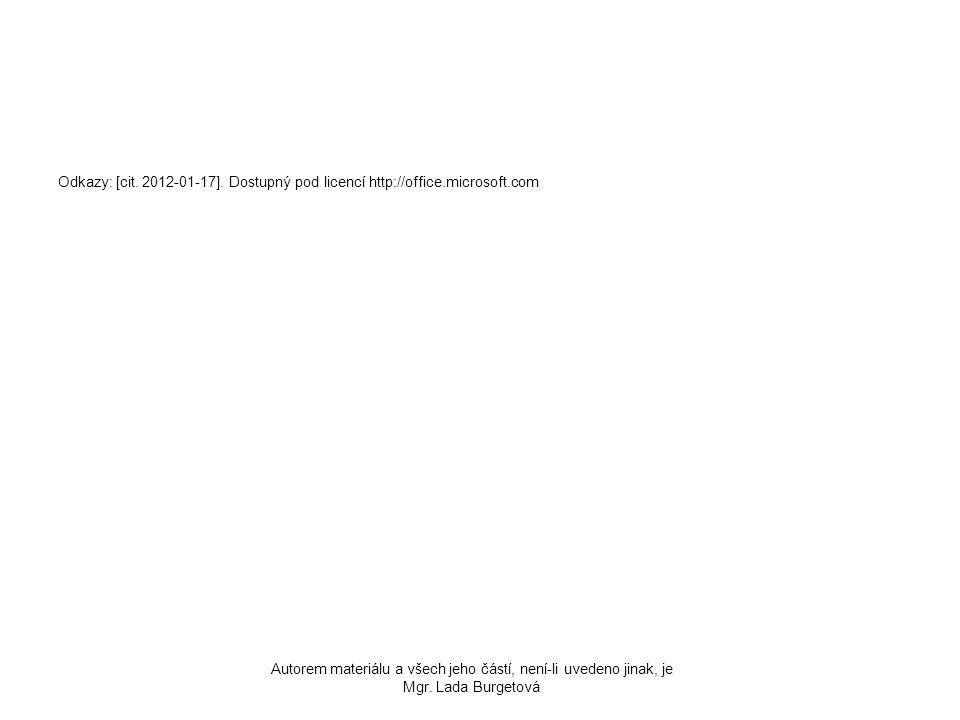 Odkazy: [cit. 2012-01-17]. Dostupný pod licencí http://office.microsoft.com Autorem materiálu a všech jeho částí, není-li uvedeno jinak, je Mgr. Lada