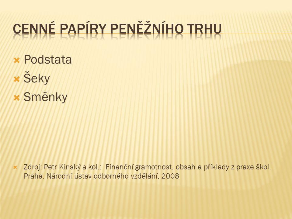  Podstata  Šeky  Směnky  Zdroj: Petr Kinský a kol.: Finanční gramotnost, obsah a příklady z praxe škol.