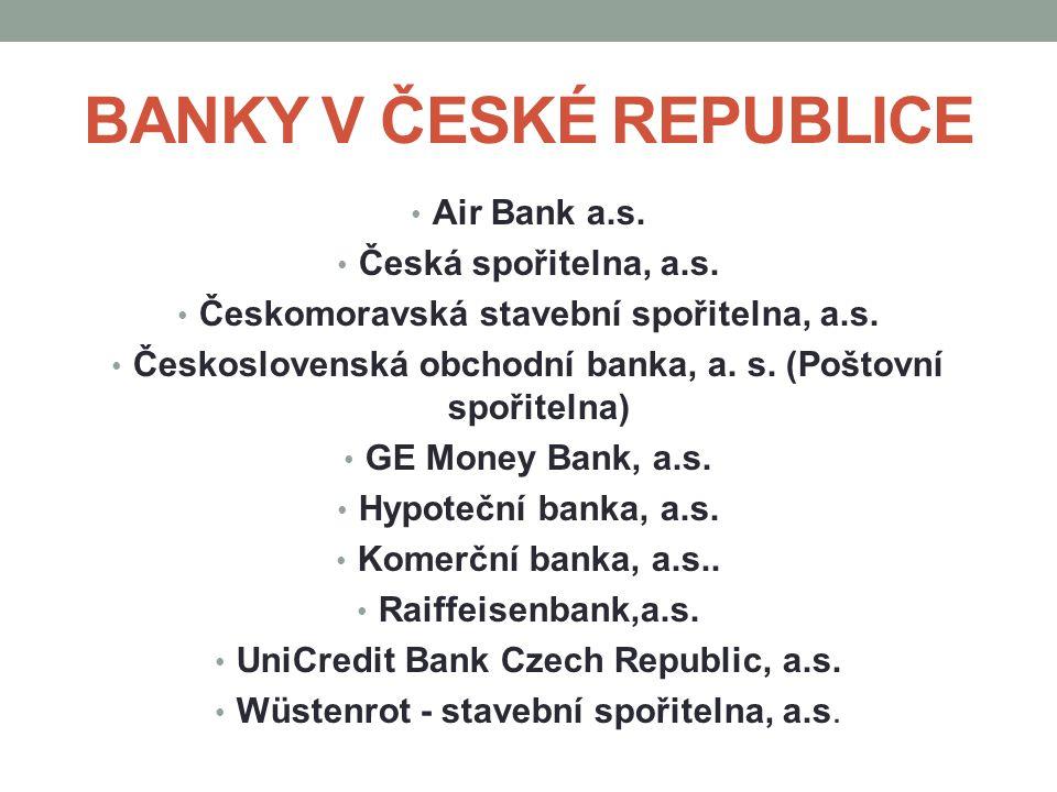 BANKY V ČESKÉ REPUBLICE Air Bank a.s. Česká spořitelna, a.s. Českomoravská stavební spořitelna, a.s. Československá obchodní banka, a. s. (Poštovní sp