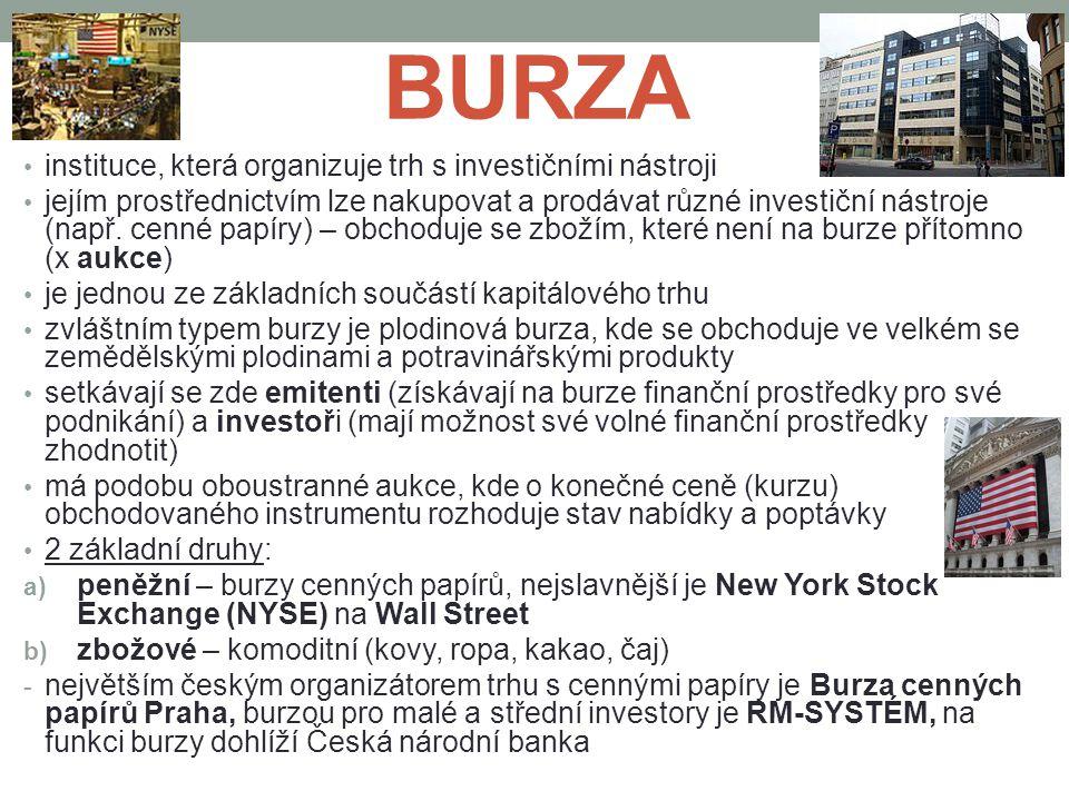 BURZA instituce, která organizuje trh s investičními nástroji jejím prostřednictvím lze nakupovat a prodávat různé investiční nástroje (např. cenné pa