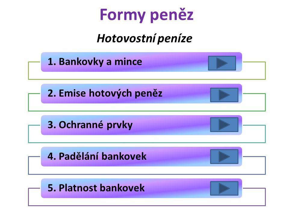 Formy peněz 1.Bankovky a mince2.Emise hotových peněz3.Ochranné prvky4.Padělání bankovek5.Platnost bankovek Hotovostní peníze