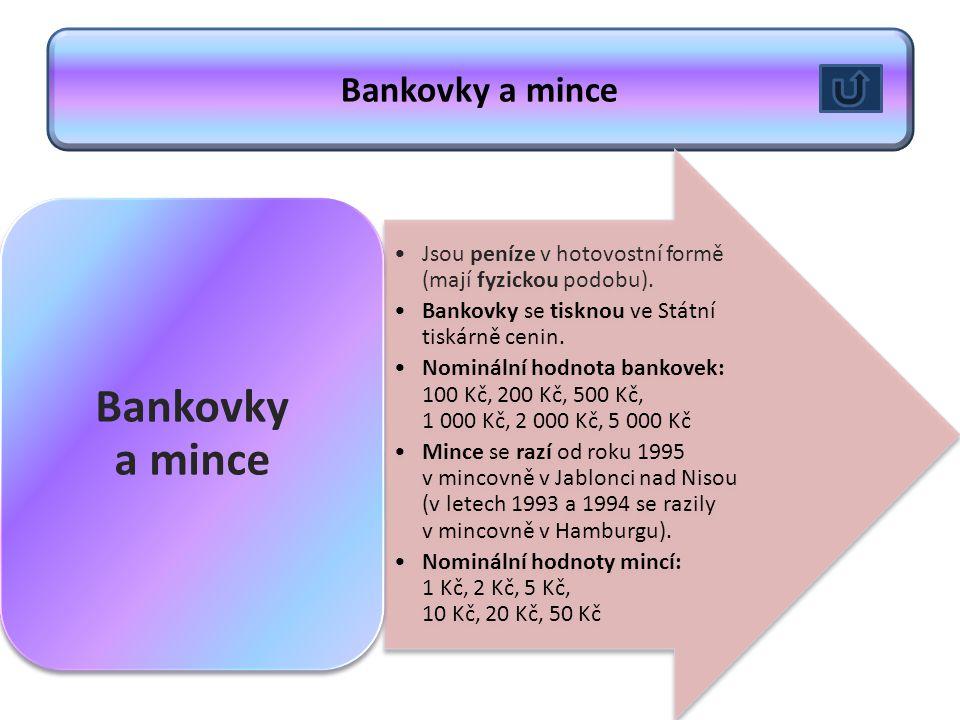 Bankovky a mince Jsou peníze v hotovostní formě (mají fyzickou podobu). Bankovky se tisknou ve Státní tiskárně cenin. Nominální hodnota bankovek: 100