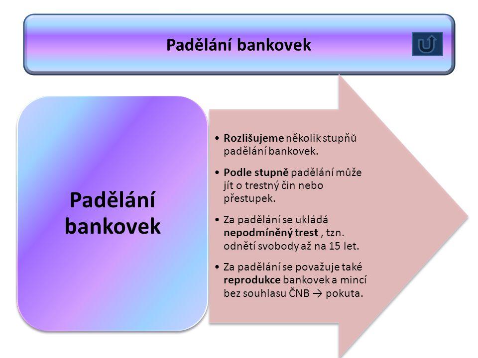Padělání bankovek Rozlišujeme několik stupňů padělání bankovek.