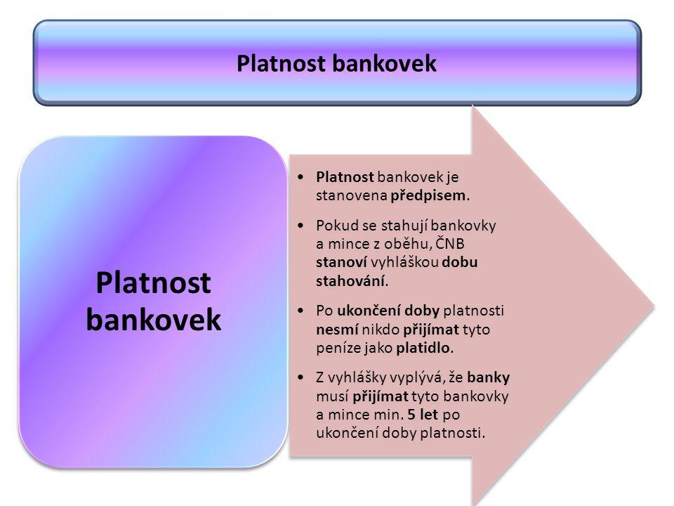 Platnost bankovek Platnost bankovek je stanovena předpisem. Pokud se stahují bankovky a mince z oběhu, ČNB stanoví vyhláškou dobu stahování. Po ukonče