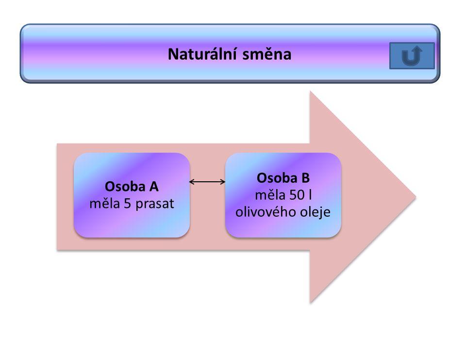 Osoba A měla 5 prasat Osoba B měla 50 l olivového oleje Naturální směna