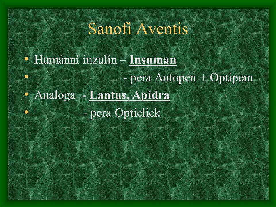 Sanofi Aventis Humánní inzulín – Insuman - pera Autopen + Optipem Analoga - Lantus, Apidra - pera Opticlick