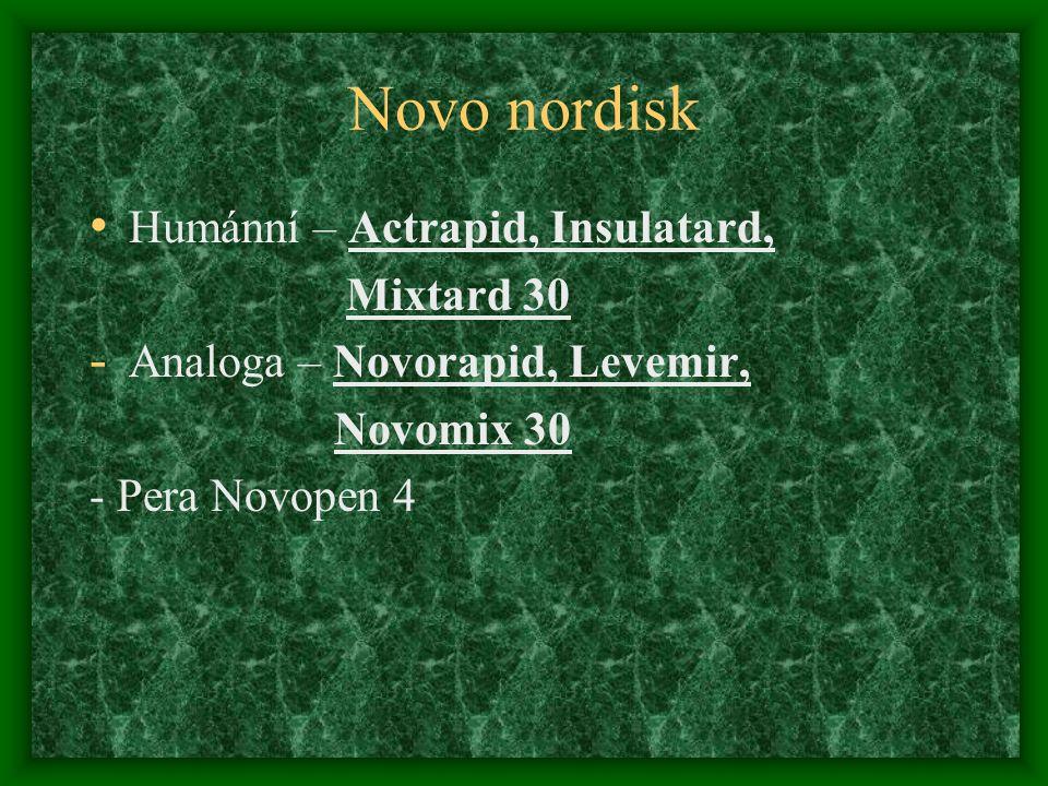 Novo nordisk Humánní – Actrapid, Insulatard, Mixtard 30 - Analoga – Novorapid, Levemir, Novomix 30 - Pera Novopen 4