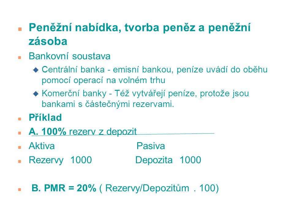 n Peněžní nabídka, tvorba peněz a peněžní zásoba n Bankovní soustava u Centrální banka - emisní bankou, peníze uvádí do oběhu pomocí operací na volném