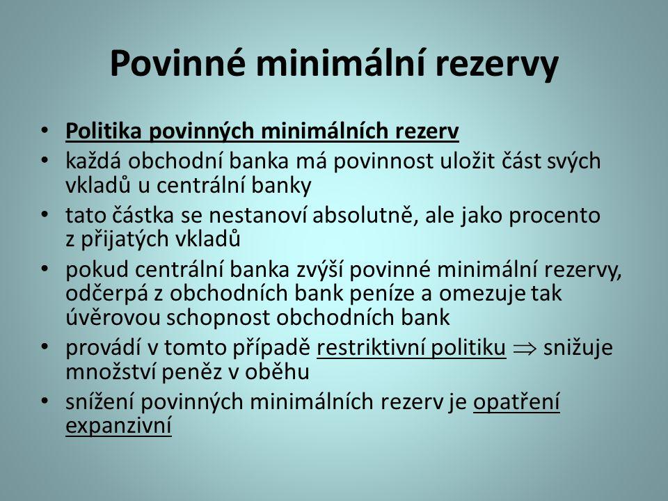 Povinné minimální rezervy Politika povinných minimálních rezerv každá obchodní banka má povinnost uložit část svých vkladů u centrální banky tato část
