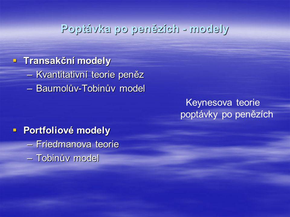 Poptávka po penězích - modely  Transakční modely –Kvantitativní teorie peněz –Baumolův-Tobinův model  Portfoliové modely –Friedmanova teorie –Tobinů