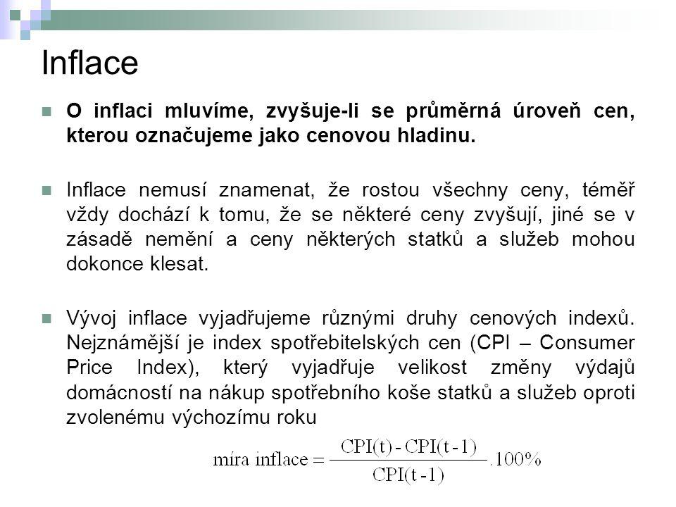 Inflace O inflaci mluvíme, zvyšuje-li se průměrná úroveň cen, kterou označujeme jako cenovou hladinu. Inflace nemusí znamenat, že rostou všechny ceny,