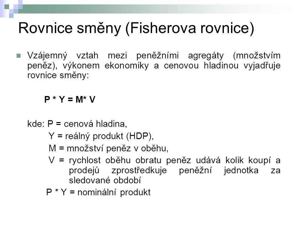 Rovnice směny (Fisherova rovnice) Motivační příklad: Jestliže je hodnota tržní produkce za sledované období např.