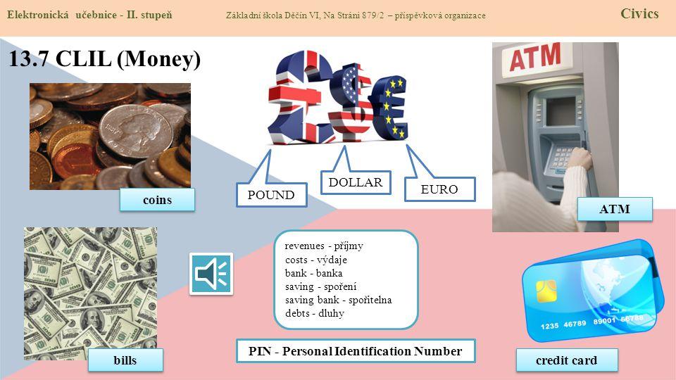 13.7 CLIL (Money) Elektronická učebnice - II. stupeň Základní škola Děčín VI, Na Stráni 879/2 – příspěvková organizace Civics credit card bills coins