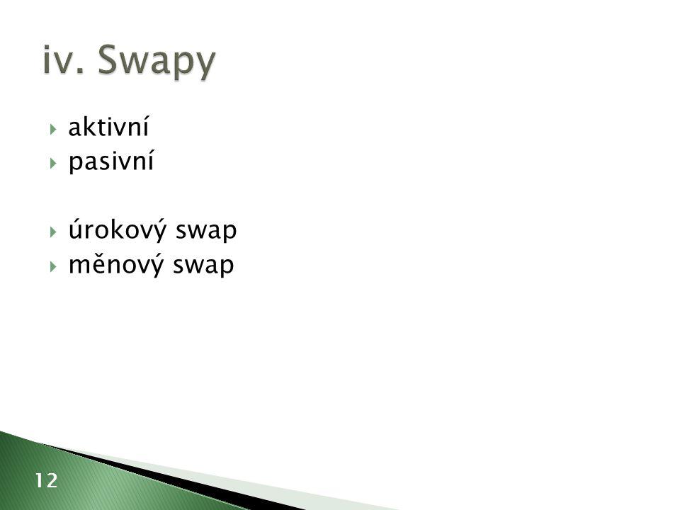  aktivní  pasivní  úrokový swap  měnový swap 12
