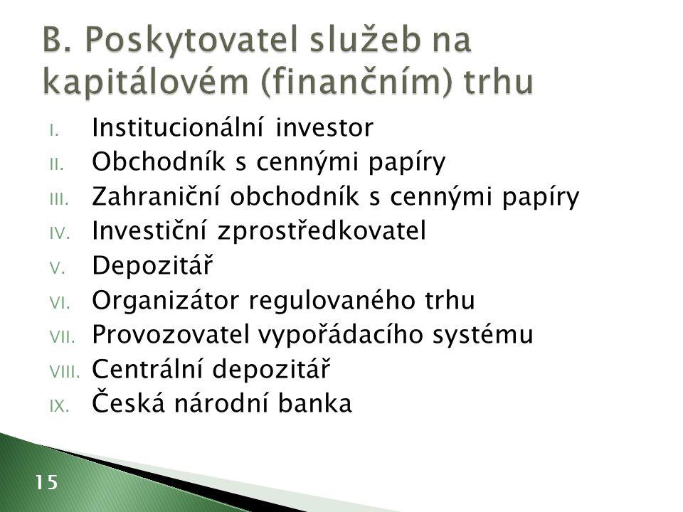 I. Institucionální investor II. Obchodník s cennými papíry III.