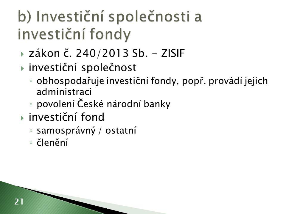  zákon č.240/2013 Sb. - ZISIF  investiční společnost ◦ obhospodařuje investiční fondy, popř.