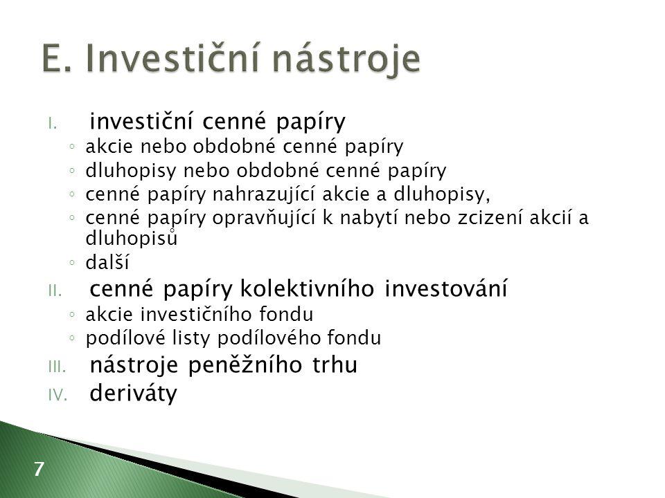 I. investiční cenné papíry ◦ akcie nebo obdobné cenné papíry ◦ dluhopisy nebo obdobné cenné papíry ◦ cenné papíry nahrazující akcie a dluhopisy, ◦ cen