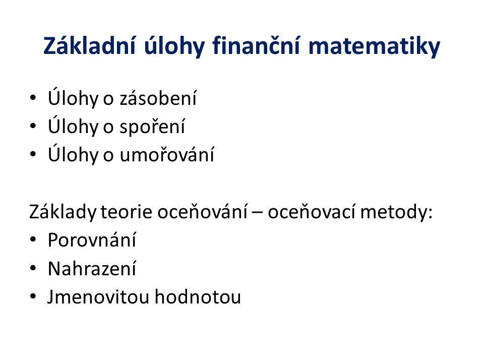 Základní úlohy finanční matematiky Úlohy o zásobení Úlohy o spoření Úlohy o umořování Základy teorie oceňování – oceňovací metody: Porovnání Nahrazení Jmenovitou hodnotou