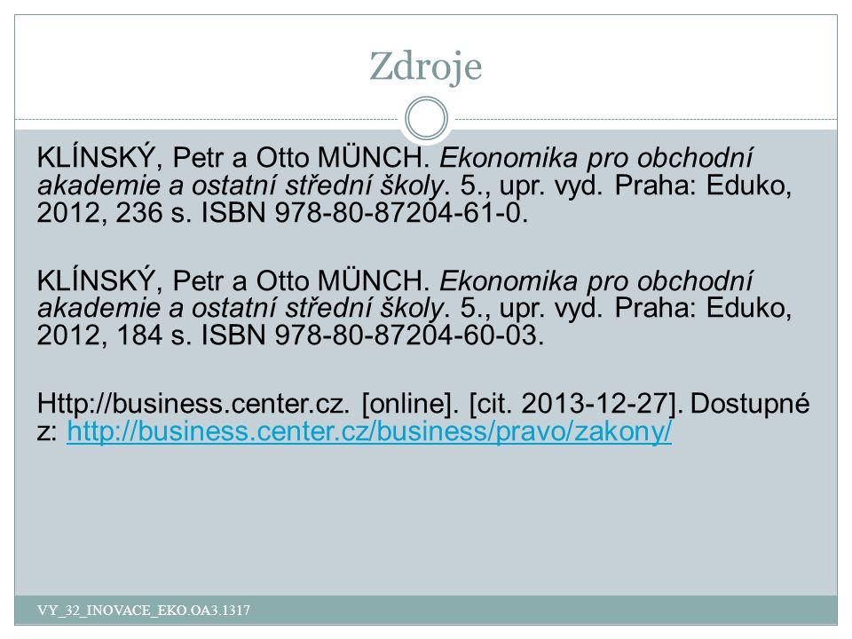 Zdroje VY_32_INOVACE_EKO.OA3.1317 KLÍNSKÝ, Petr a Otto MÜNCH.