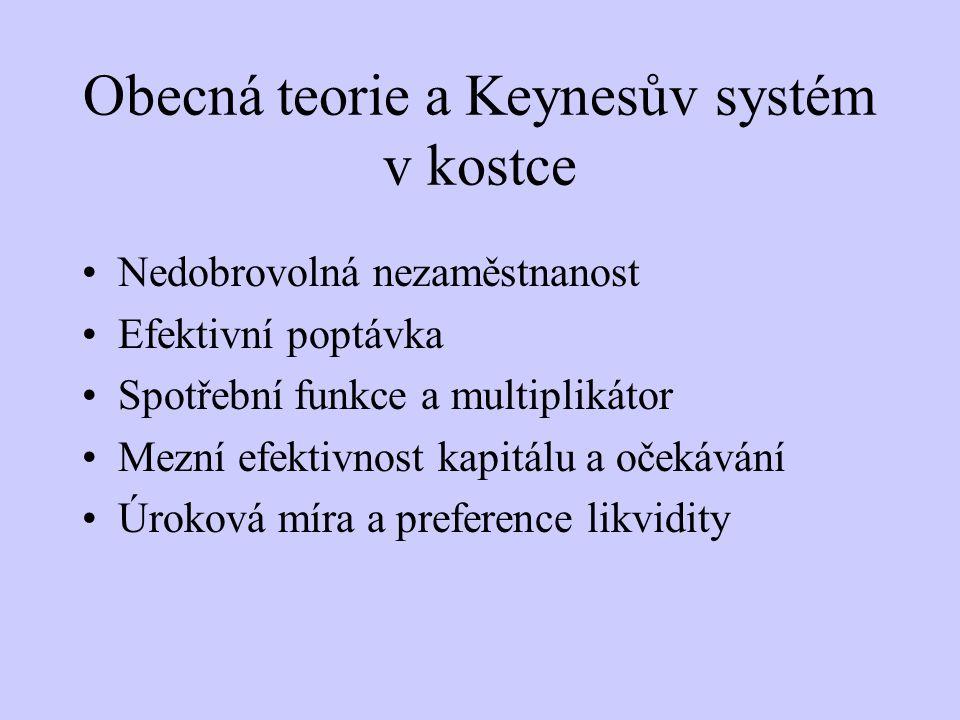 Obecná teorie a Keynesův systém v kostce Nedobrovolná nezaměstnanost Efektivní poptávka Spotřební funkce a multiplikátor Mezní efektivnost kapitálu a