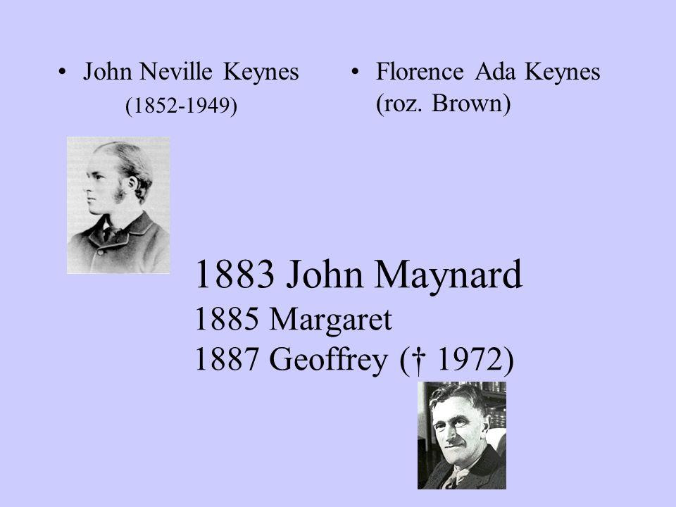 1883 John Maynard 1885 Margaret 1887 Geoffrey († 1972) John Neville Keynes (1852-1949) Florence Ada Keynes (roz. Brown)