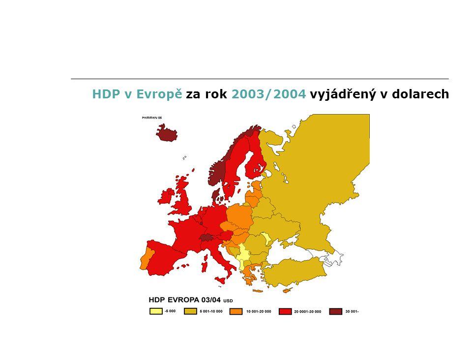 HDP v Evropě za rok 2003/2004 vyjádřený v dolarech
