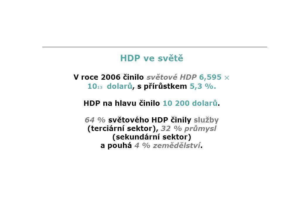 HDP ve světě V roce 2006 činilo světové HDP 6,595 × 10 13 dolarů, s přírůstkem 5,3 %.