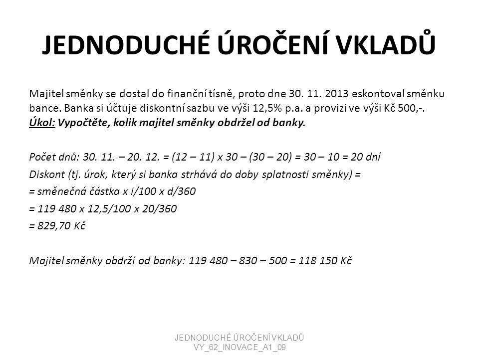 JEDNODUCHÉ ÚROČENÍ VKLADŮ Kontrolní příklad: Pekárna Ivanka, s.r.o.