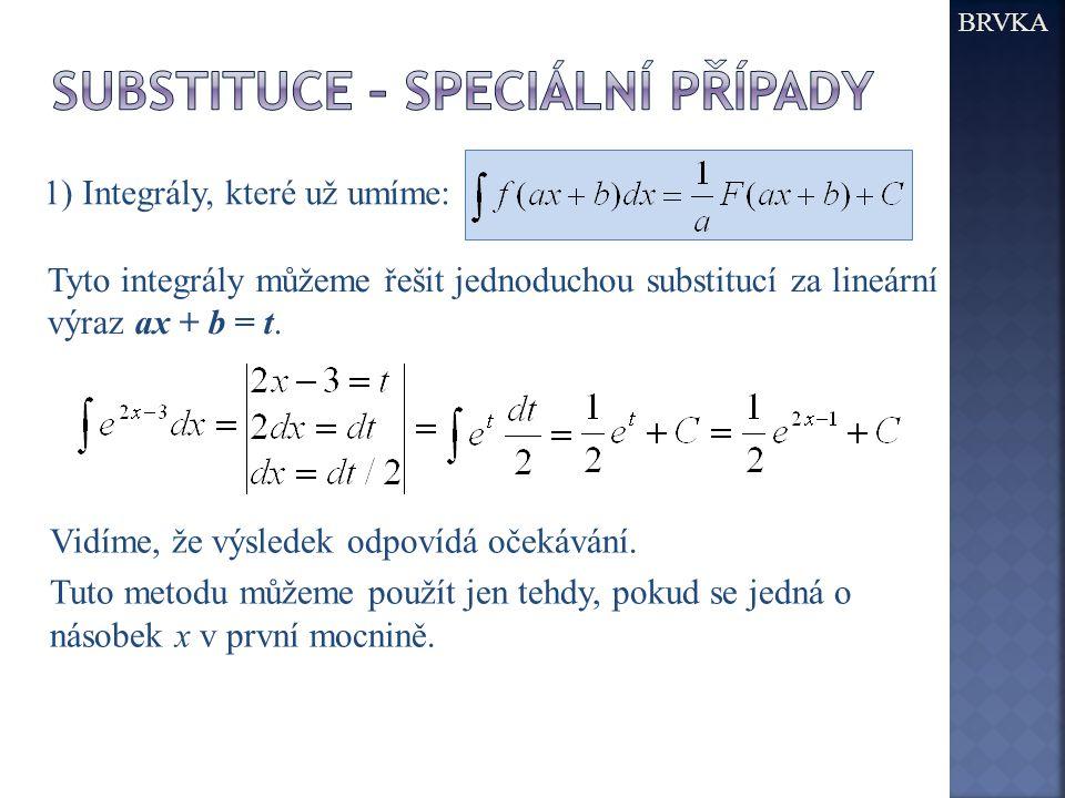 1) Integrály, které už umíme: Tyto integrály můžeme řešit jednoduchou substitucí za lineární výraz ax + b = t. Vidíme, že výsledek odpovídá očekávání.
