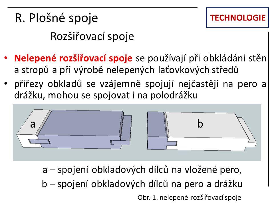 TECHNOLOGIE R. Plošné spoje Rozšiřovací spoje Nelepené rozšiřovací spoje se používají při obkládáni stěn a stropů a při výrobě nelepených laťovkových