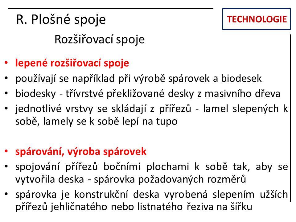 TECHNOLOGIE R. Plošné spoje Rozšiřovací spoje lepené rozšiřovací spoje používají se například při výrobě spárovek a biodesek biodesky - třívrstvé přek