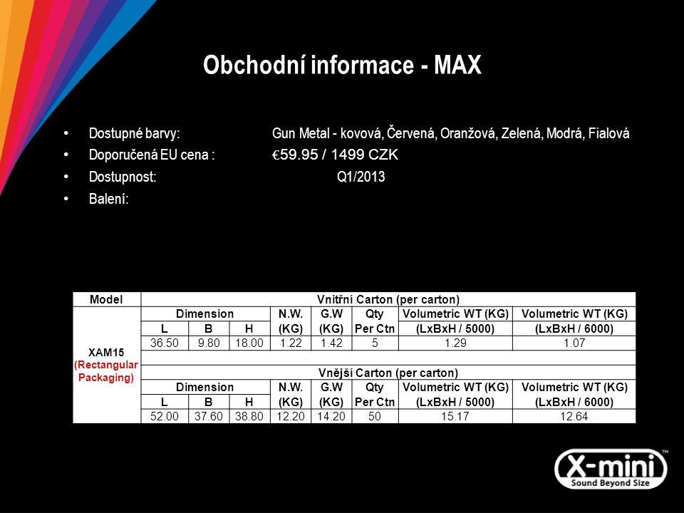 Obchodní informace - MAX Dostupné barvy: Gun Metal - kovová, Červená, Oranžová, Zelená, Modrá, Fialová Doporučená EU cena : € 59.95 / 1499 CZK Dostupnost:Q1/2013 Balení: ModelVnitřní Carton (per carton) XAM15 (Rectangular Packaging) DimensionN.W.G.WQtyVolumetric WT (KG) LBH(KG) Per Ctn(LxBxH / 5000)(LxBxH / 6000) 36.509.8018.001.221.4251.291.07 Vnější Carton (per carton) DimensionN.W.G.WQtyVolumetric WT (KG) LBH(KG) Per Ctn(LxBxH / 5000)(LxBxH / 6000) 52.0037.6038.8012.2014.205015.1712.64