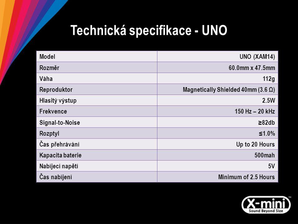 Technická specifikace - UNO ModelUNO (XAM14) Rozměr60.0mm x 47.5mm Váha112g ReproduktorMagnetically Shielded 40mm (3.6 Ω) Hlasitý výstup2.5W Frekvence150 Hz – 20 kHz Signal-to-Noise≥82db Rozptyl≤1.0% Čas přehráváníUp to 20 Hours Kapacita baterie500mah Nabíjecí napětí5V Čas nabíjeníMinimum of 2.5 Hours