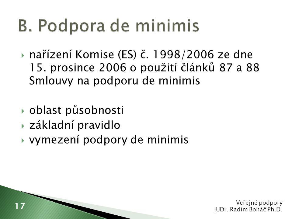  nařízení Komise (ES) č. 1998/2006 ze dne 15. prosince 2006 o použití článků 87 a 88 Smlouvy na podporu de minimis  oblast působnosti  základní pra