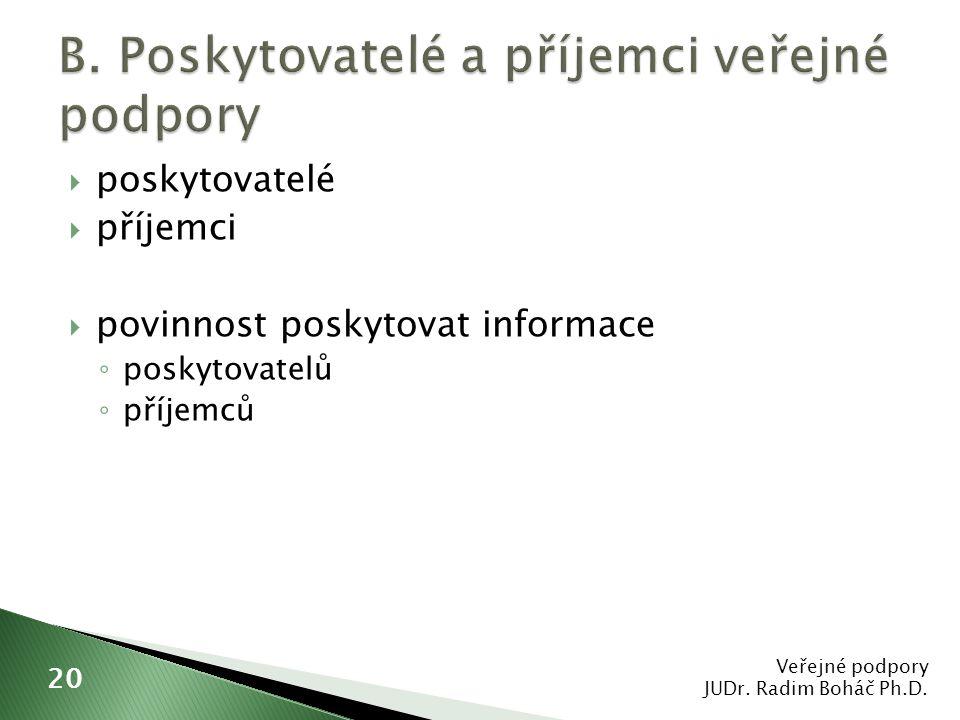  poskytovatelé  příjemci  povinnost poskytovat informace ◦ poskytovatelů ◦ příjemců Veřejné podpory JUDr. Radim Boháč Ph.D. 20