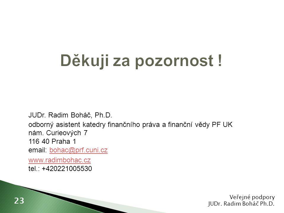 JUDr. Radim Boháč, Ph.D. odborný asistent katedry finančního práva a finanční vědy PF UK nám. Curieových 7 116 40 Praha 1 email: bohac@prf.cuni.czboha