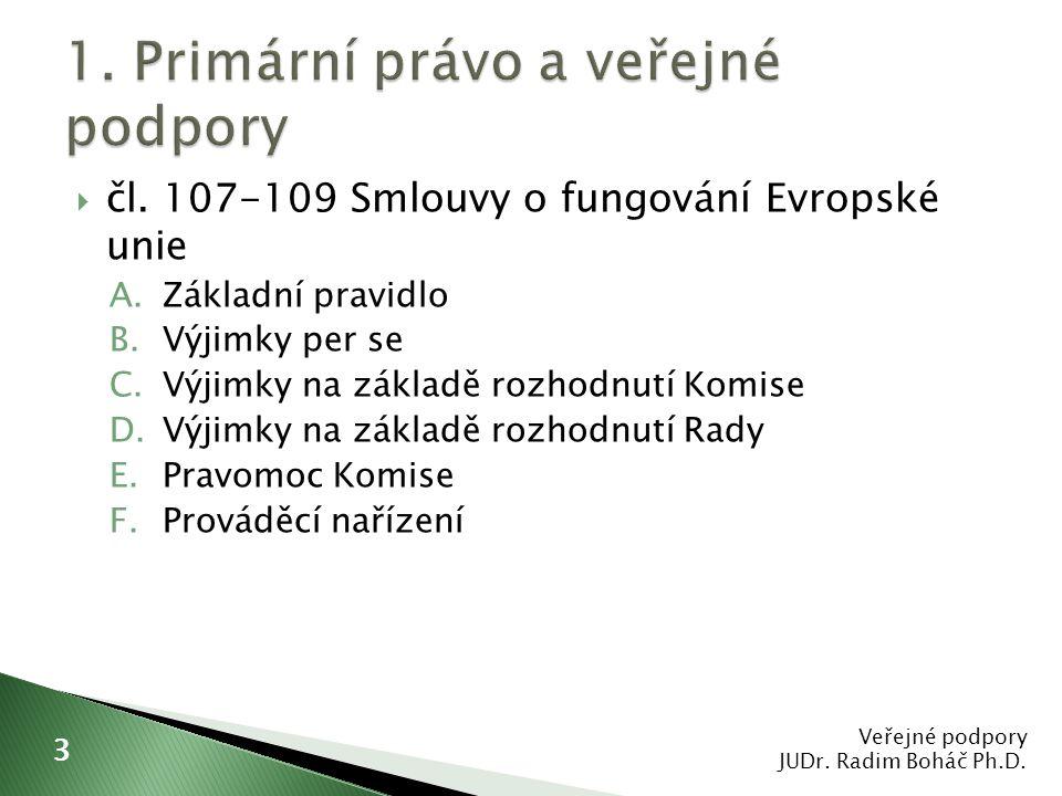  čl. 107-109 Smlouvy o fungování Evropské unie A.Základní pravidlo B.Výjimky per se C.Výjimky na základě rozhodnutí Komise D.Výjimky na základě rozho