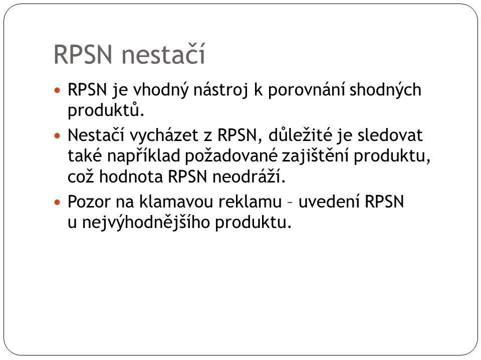 RPSN nestačí RPSN je vhodný nástroj k porovnání shodných produktů. Nestačí vycházet z RPSN, důležité je sledovat také například požadované zajištění p