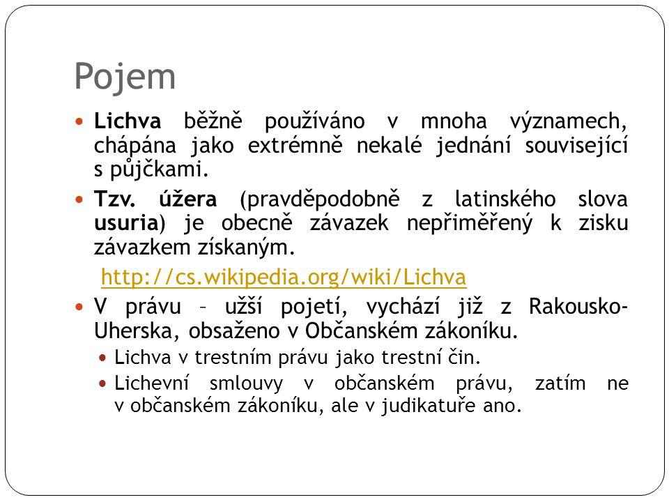 Pojem Lichva běžně používáno v mnoha významech, chápána jako extrémně nekalé jednání související s půjčkami. Tzv. úžera (pravděpodobně z latinského sl