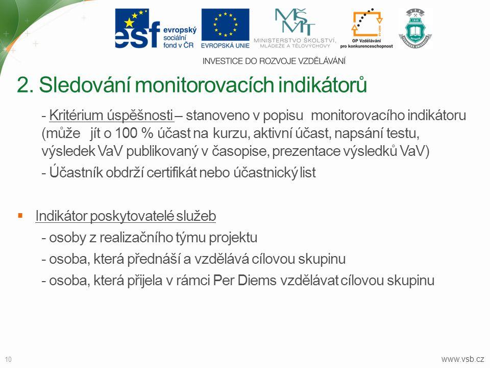 www.vsb.cz 10 - Kritérium úspěšnosti – stanoveno v popisu monitorovacího indikátoru (může jít o 100 % účast na kurzu, aktivní účast, napsání testu, vý