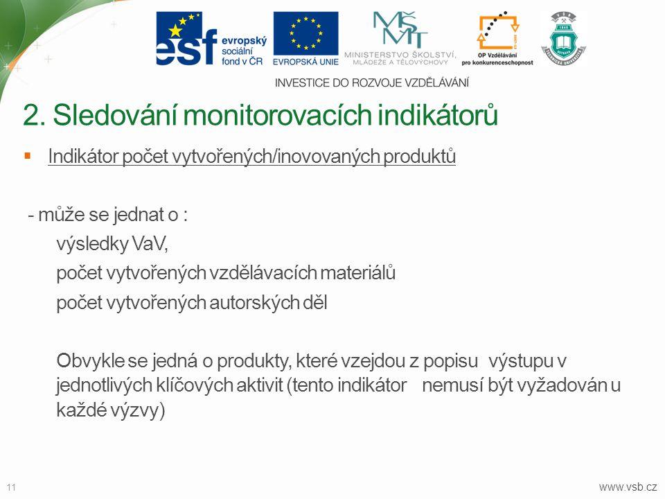 www.vsb.cz 11  Indikátor počet vytvořených/inovovaných produktů - může se jednat o : výsledky VaV, počet vytvořených vzdělávacích materiálů počet vyt