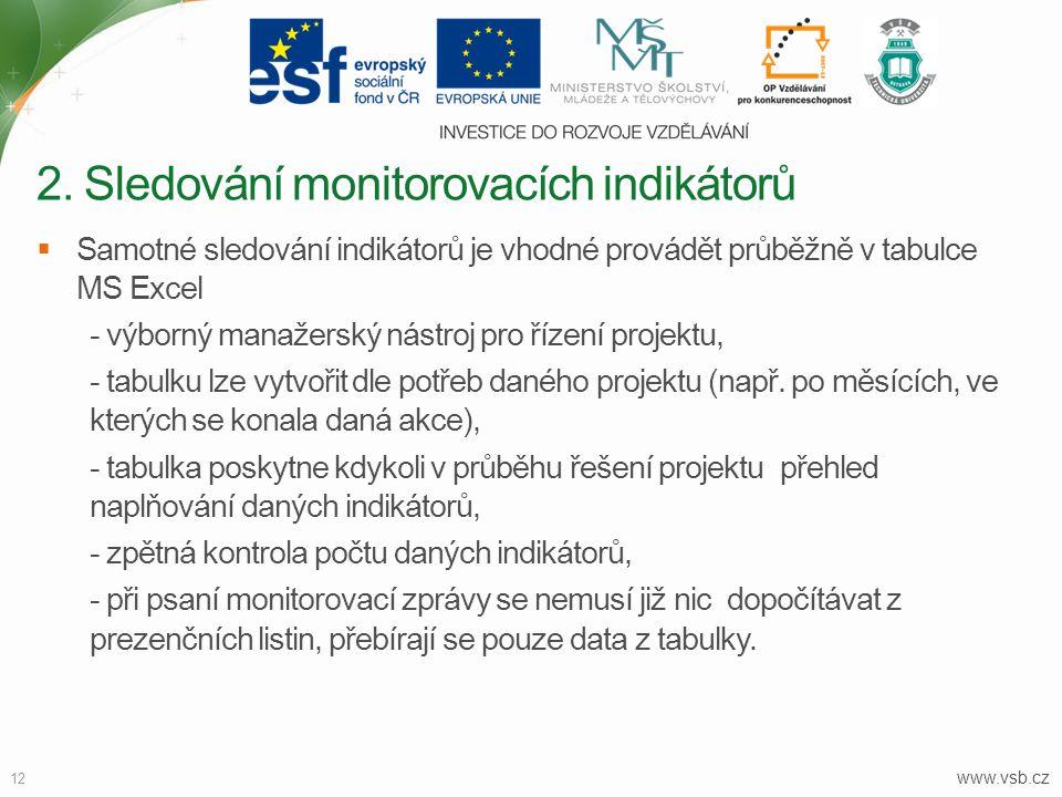 www.vsb.cz 12  Samotné sledování indikátorů je vhodné provádět průběžně v tabulce MS Excel - výborný manažerský nástroj pro řízení projektu, - tabulk