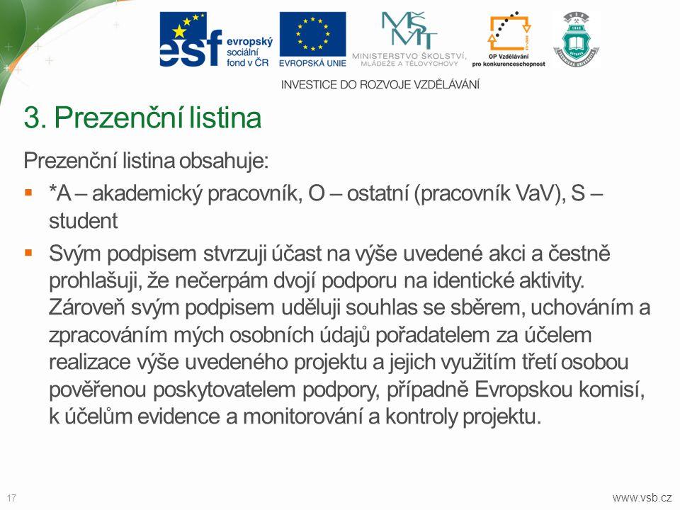 www.vsb.cz 17 Prezenční listina obsahuje:  *A – akademický pracovník, O – ostatní (pracovník VaV), S – student  Svým podpisem stvrzuji účast na výše