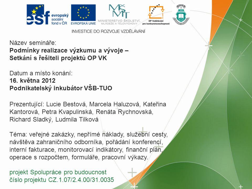 Název semináře: Podmínky realizace výzkumu a vývoje – Setkání s řešiteli projektů OP VK Datum a místo konání: 16. května 2012 Podnikatelský inkubátor