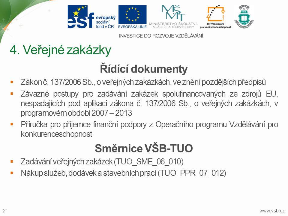 www.vsb.cz 21 Řídící dokumenty  Zákon č. 137/2006 Sb., o veřejných zakázkách, ve znění pozdějších předpisů  Závazné postupy pro zadávání zakázek spo